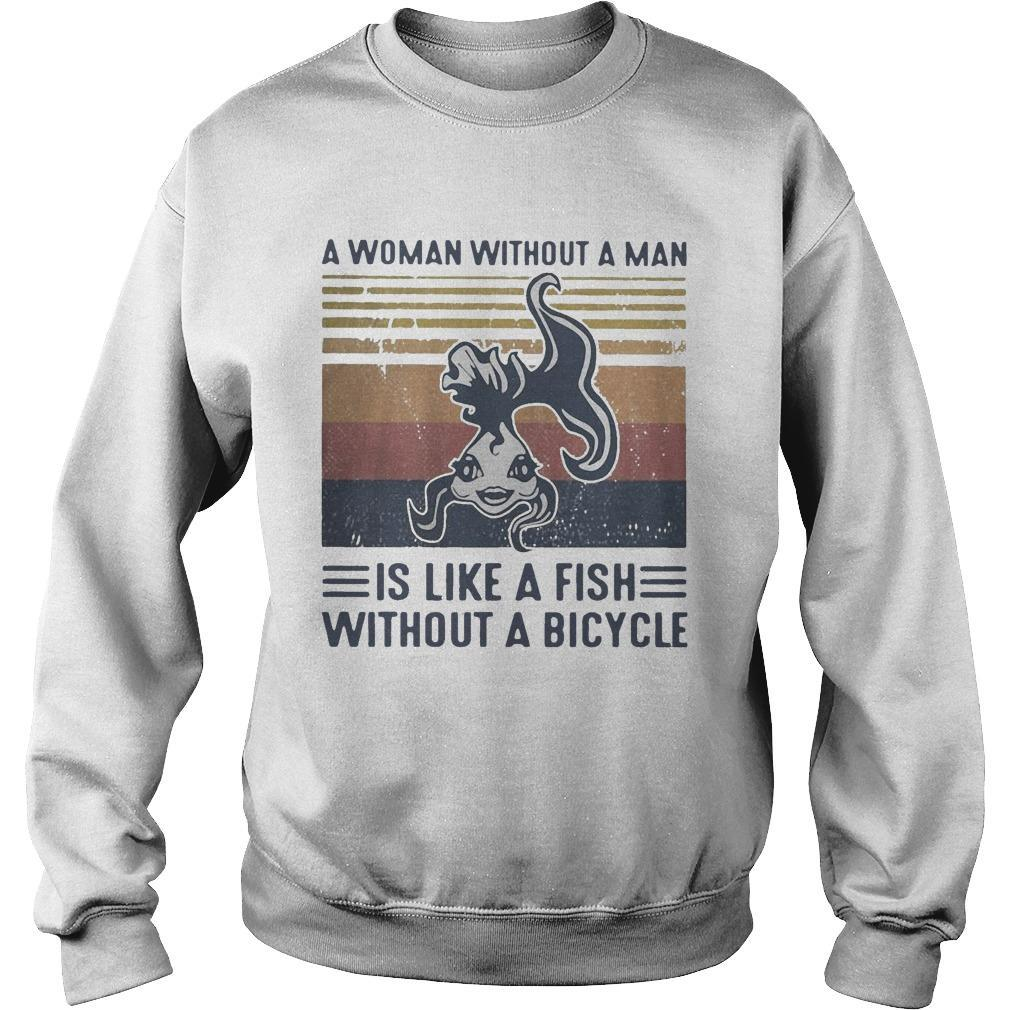 Vintage A Woman Without A Man Is Like A Fish Without A Bicycle Sweater