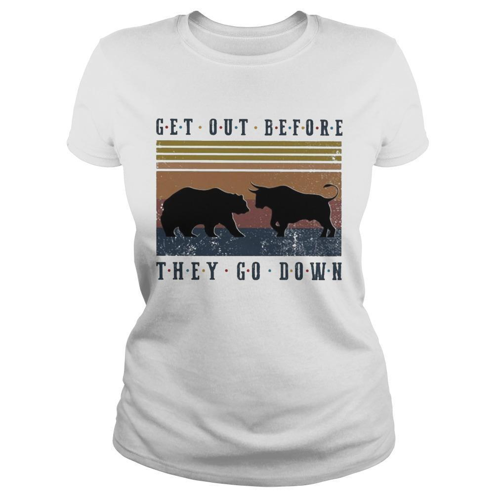 Vintage Bear And Buffalo Get Out Before They Go Down Longsleeve