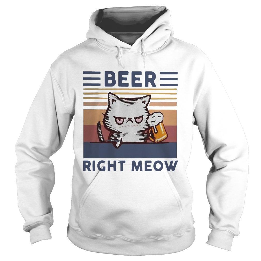Vintage Cat Beer Right Meow Hoodie