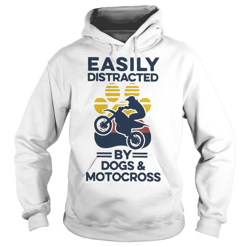 Vintage Easily Distracted By Dogs And Motocross Hoodie