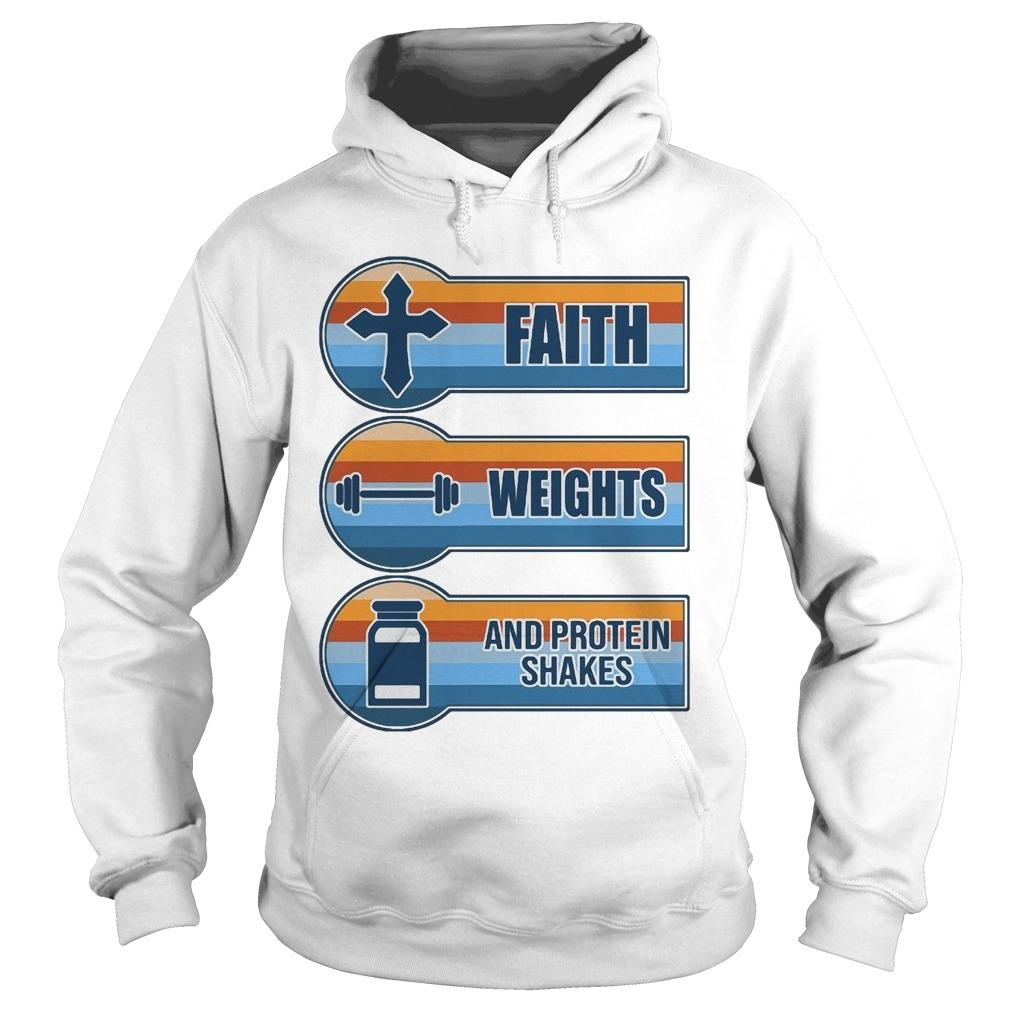 Vintage Faith Weights And Protein Shakes Hoodie