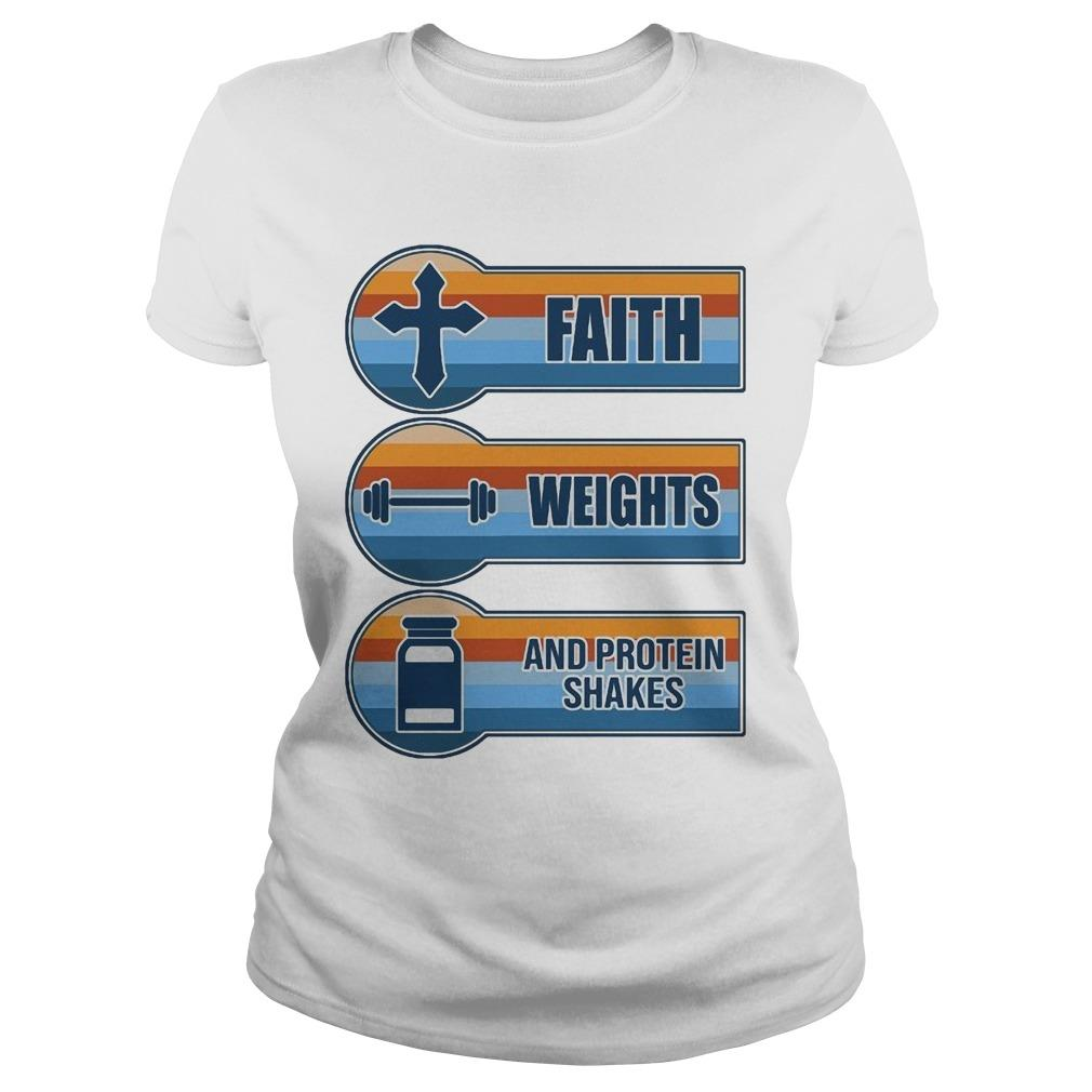 Vintage Faith Weights And Protein Shakes Longsleeve