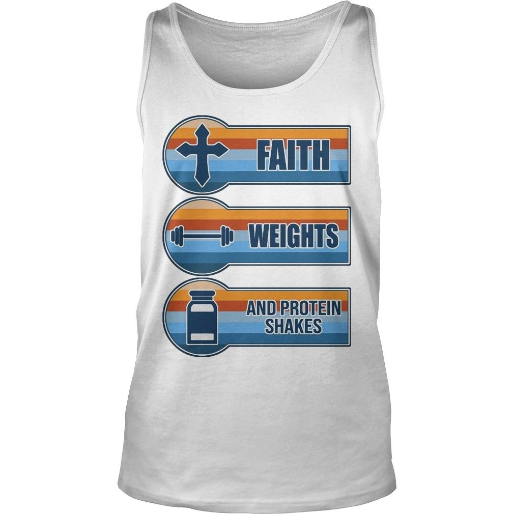 Vintage Faith Weights And Protein Shakes Tank Top
