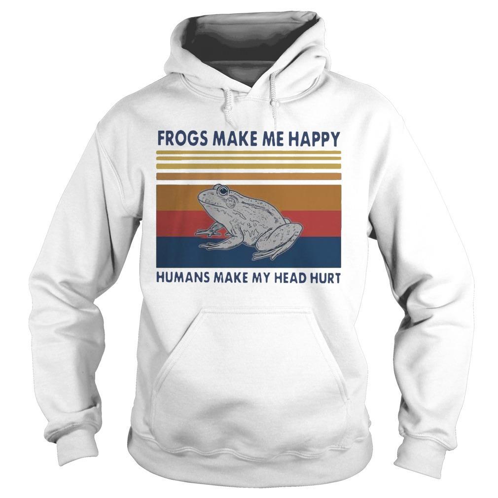 Vintage Frogs Make Me Happy Humans Make My Head Hurt Hoodie