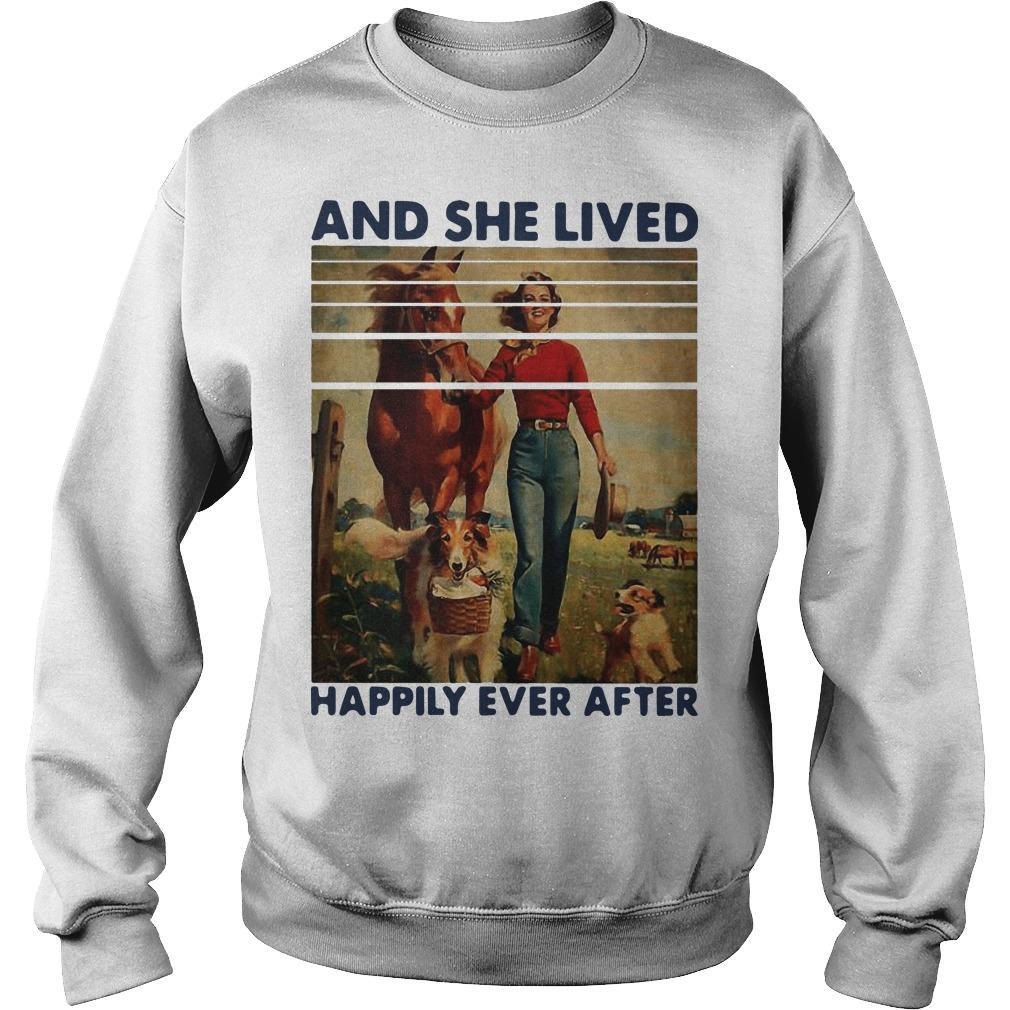 Vintage Girl Horse Dog And She Lived Happily Ever After Sweater