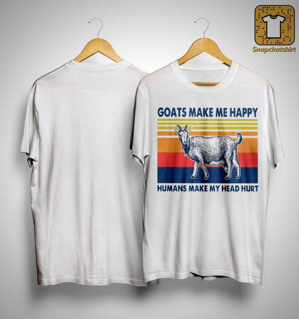Vintage Goats Make Me Happy Humans Make My Head Hurt Shirt