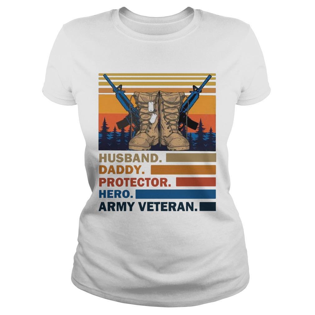 Vintage Husband Daddy Protector Hero Army Veteran Longsleeve