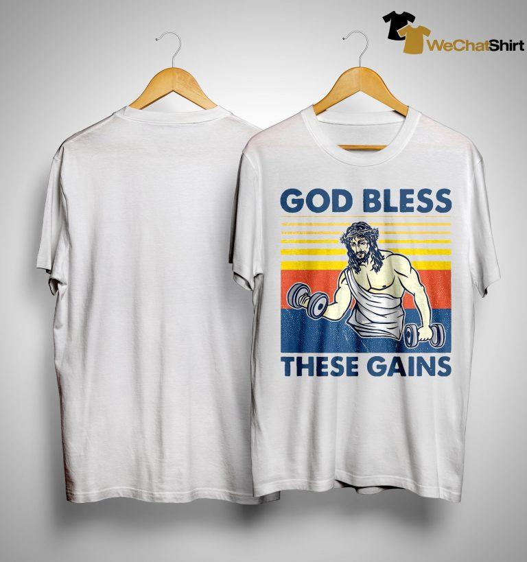 Vintage Jesus God Bless These Gains Shirt