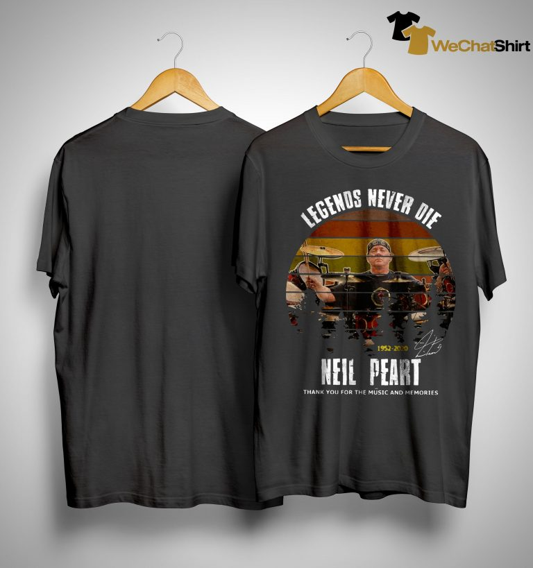Vintage Legends Never Die Neil Peart Thank You For The Music And Memories Shirt