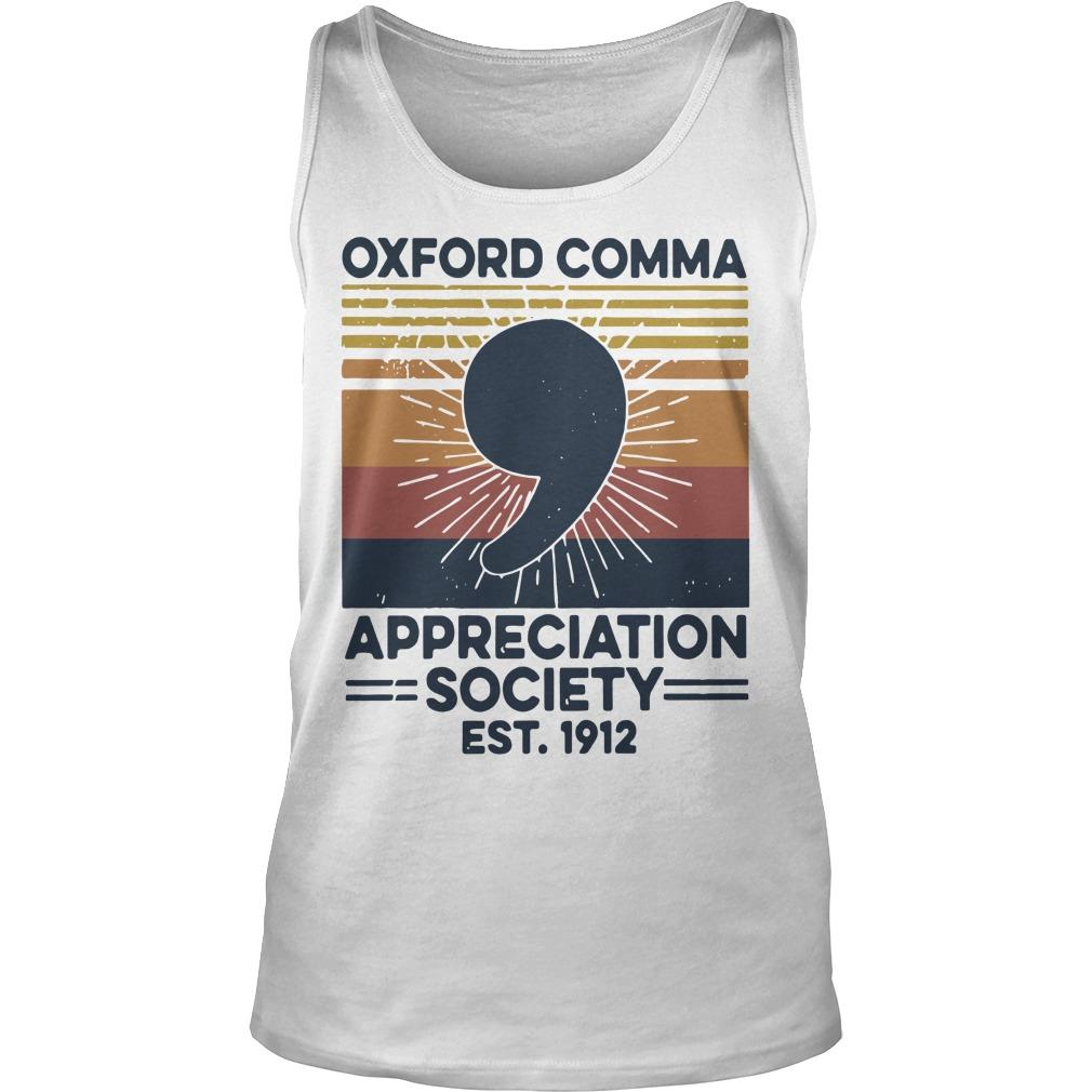 Vintage Oxford Comma Appreciation Society Est 1912 Tank Top