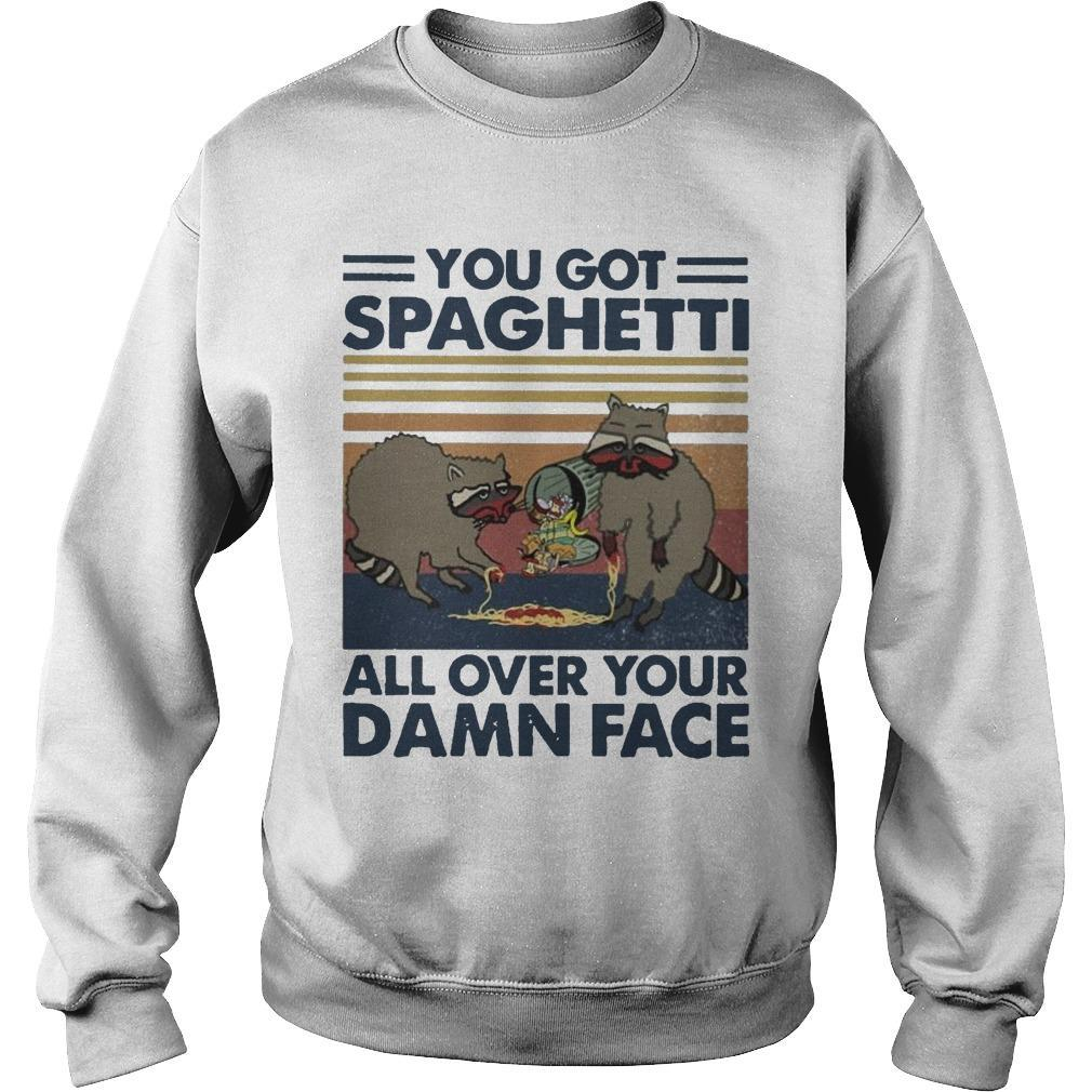 Vintage Raccoon You Got Spaghetti All Over Your Damn Face Sweater