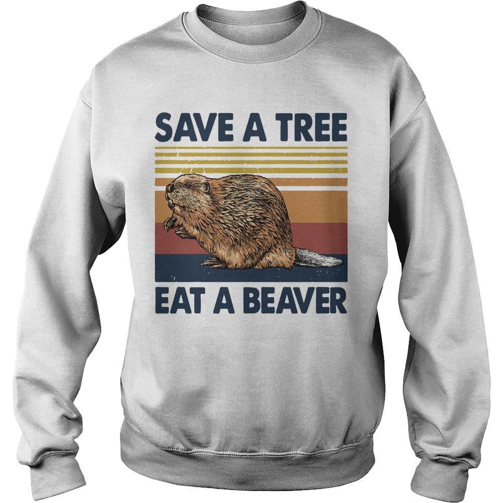Vintage Save A Tree Eat A Beaver Sweater