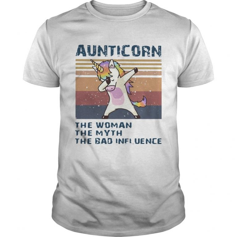 Vintage Unicorn Dabbing Aunticorn The Woman The Myth The Bad Influence Shirt