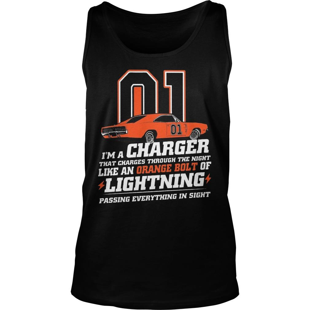 01 I'm A Charger That Charges Through The Night Like An Orange Bolt Tank Top