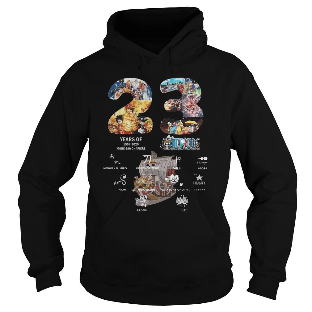 23 Years Of 1997 2020 More 980 Chapiers One Piece Signatures Hoodie