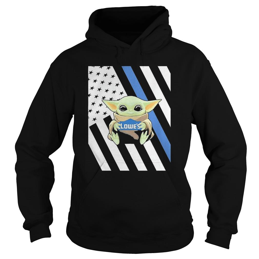 American Flag Baby Yoda Hugging Lowe's Hoodie