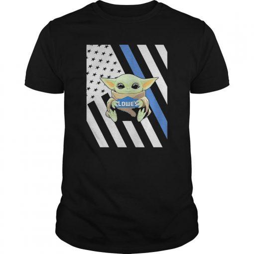 American Flag Baby Yoda Hugging Lowe's Shirt