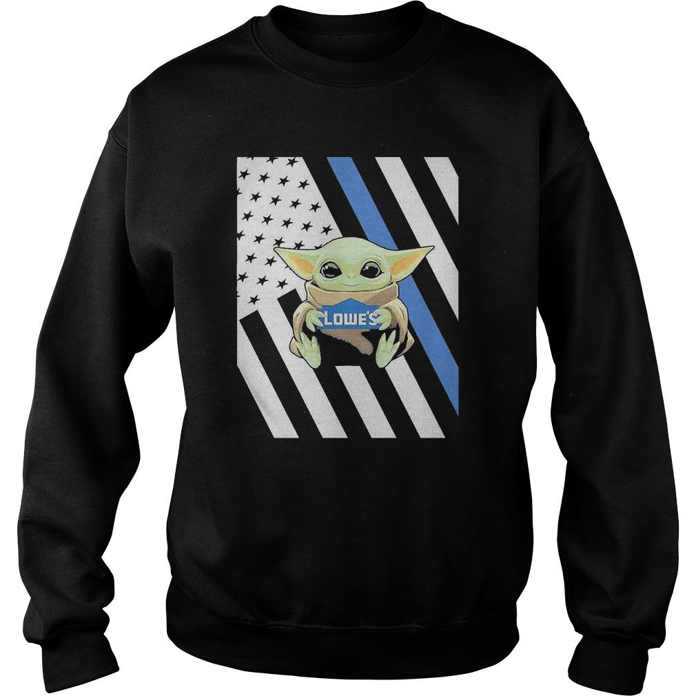 American Flag Baby Yoda Hugging Lowe's Sweater
