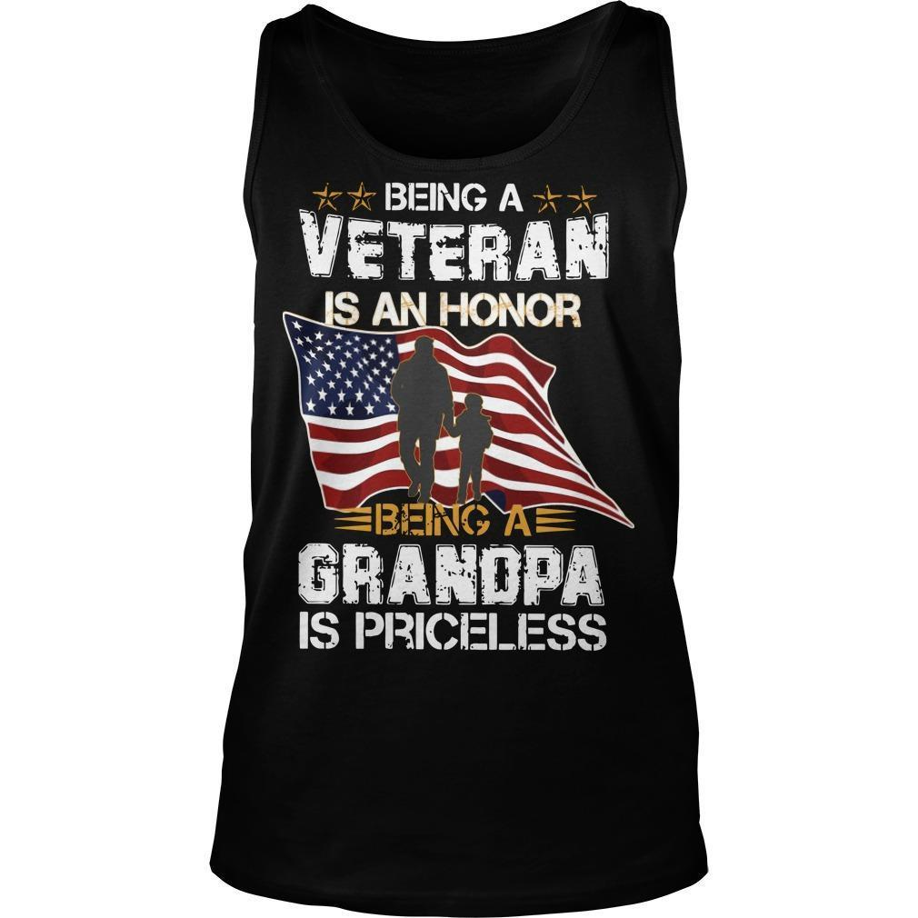 American Flag Being A Veteran Is An Honor Being A Grandpa Is Priceless Tank Top