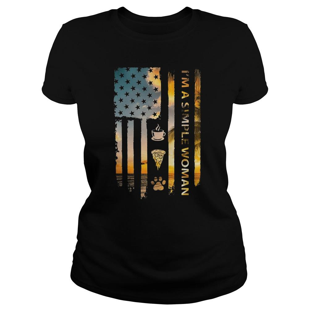 American Flag I'm A Simple Woman Like Tea Pizza Dog Sweater