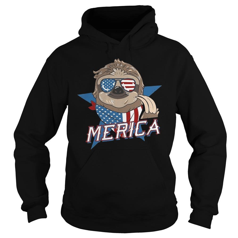 American Flag Sloth Merica Hoodie