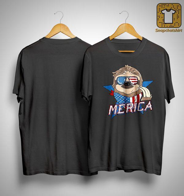 American Flag Sloth Merica Shirt