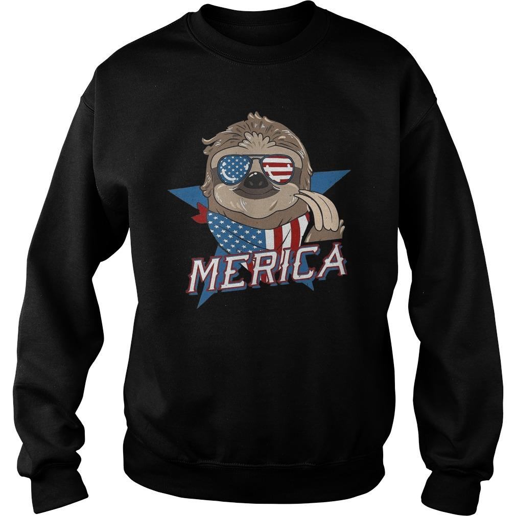 American Flag Sloth Merica Sweater