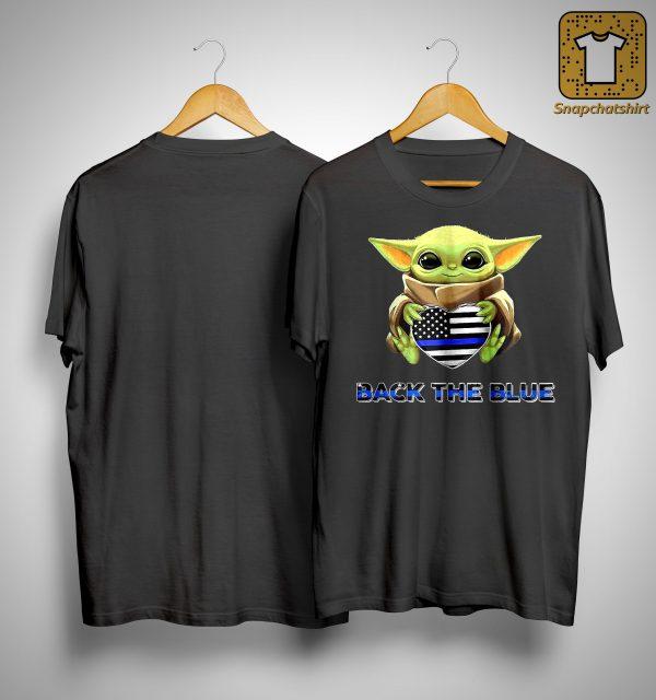 Baby Yoda Hugging Back The Blue Shirt