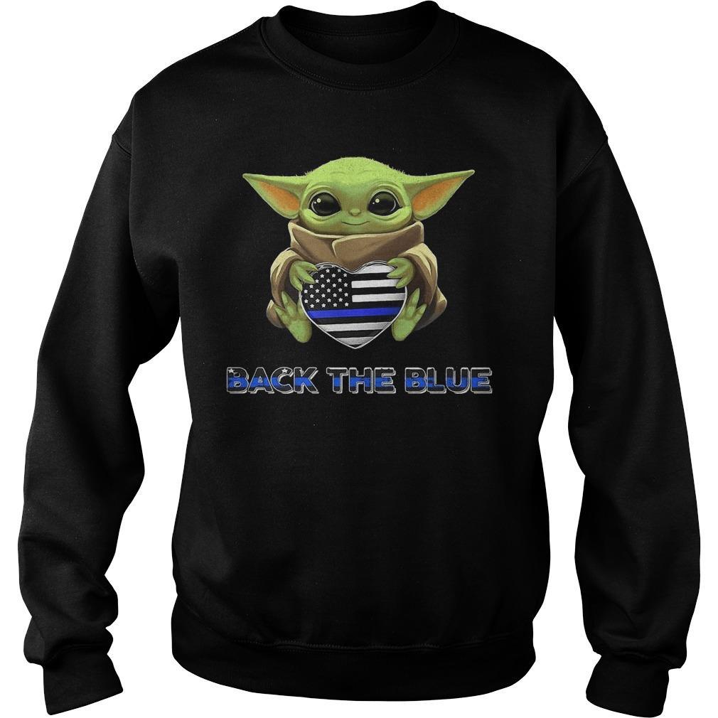 Baby Yoda Hugging Back The Blue Sweater