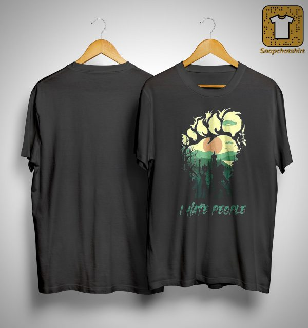 Bigfoot And Alien Middle Finger I Hate People Shirt