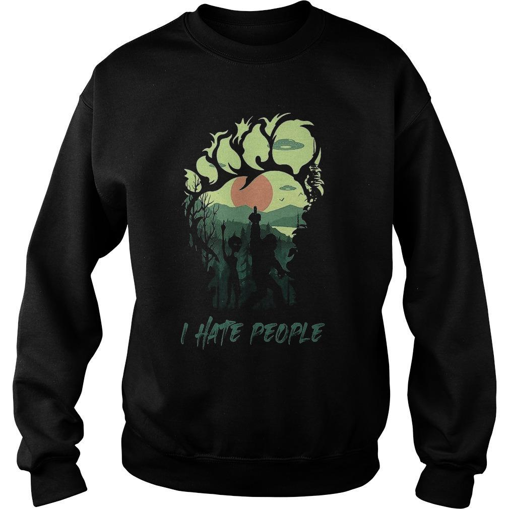 Bigfoot And Alien Middle Finger I Hate People Sweater