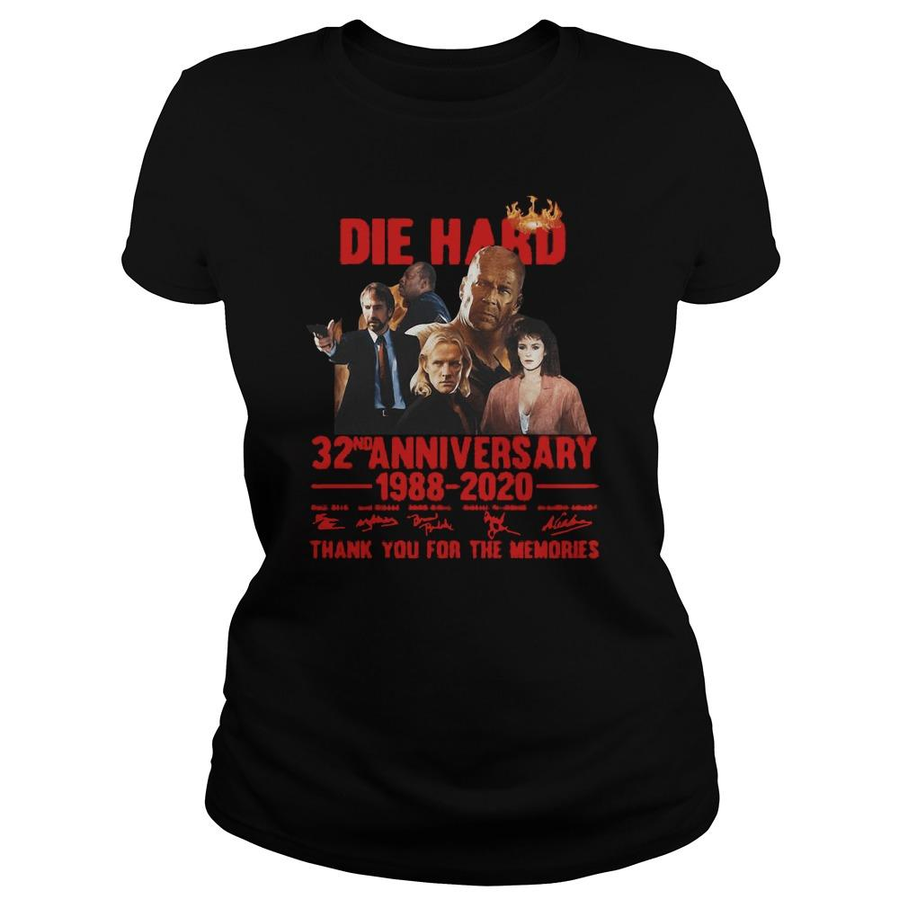 Die Hard 32nd Anniversary 1988 2020 Thank You For The Memories Signatures Hoodie