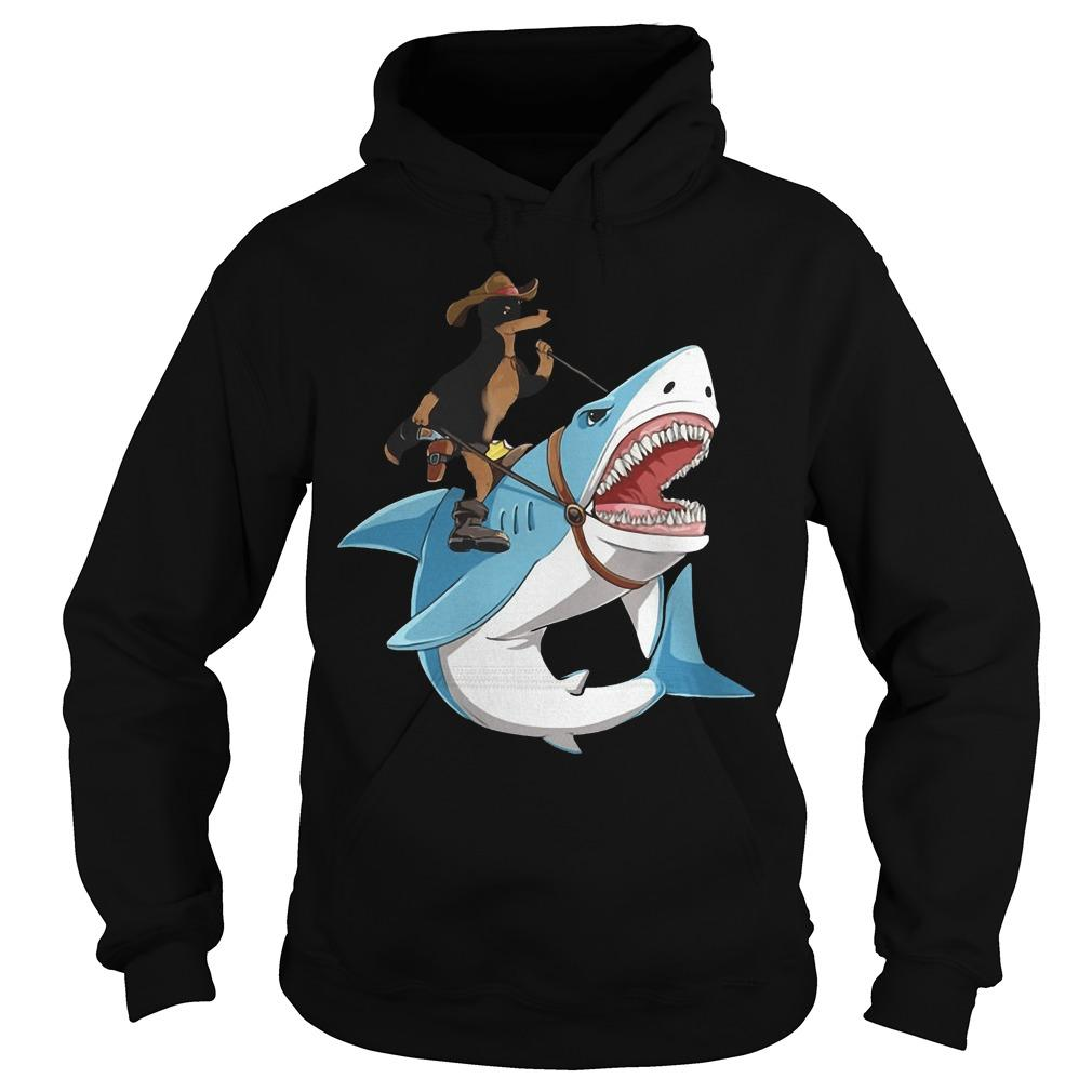 Dog Cowboys Riding Shark Hoodie
