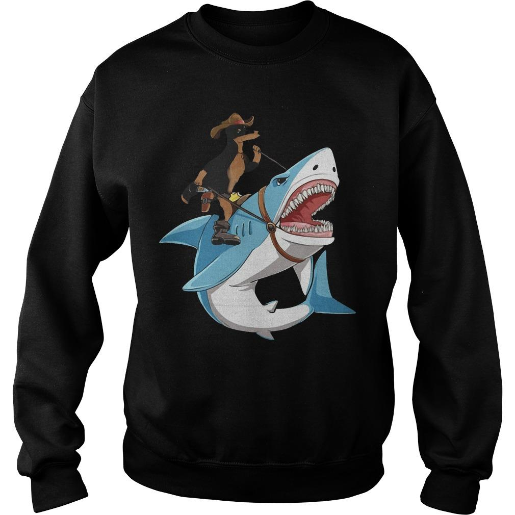 Dog Cowboys Riding Shark Sweater