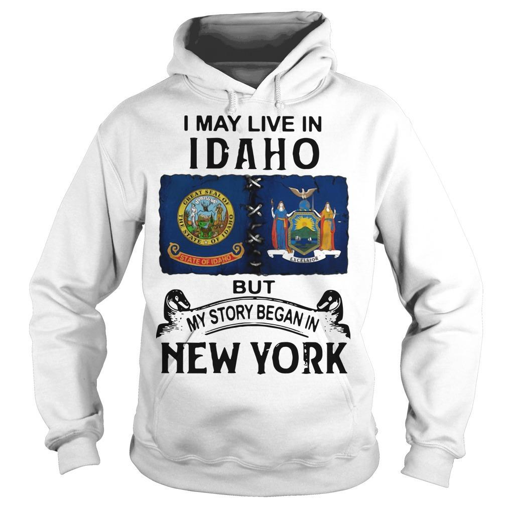 I May Live Idaho But My Story Began In New York Hoodie