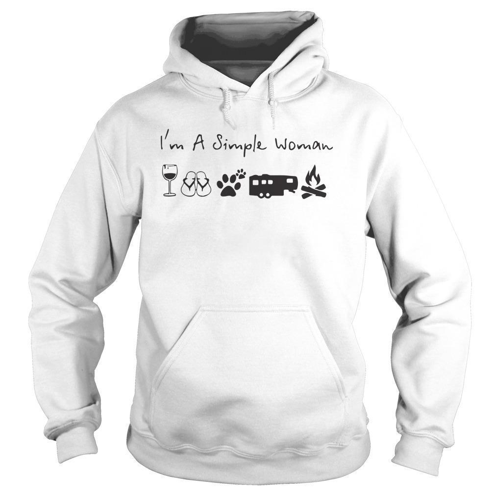 I'm A Simple Woman Like Wine Camping Dog Campfire Hoodie