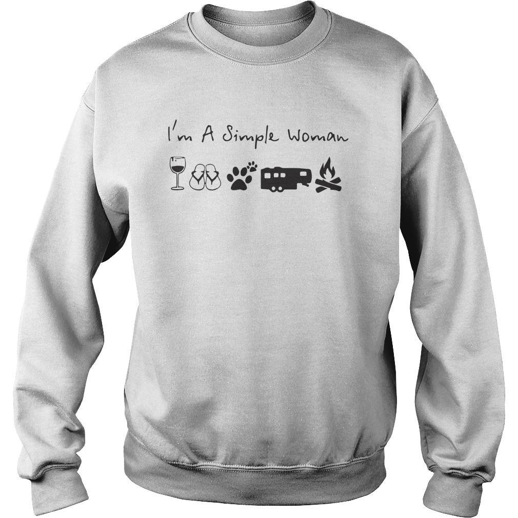 I'm A Simple Woman Like Wine Camping Dog Campfire Sweater