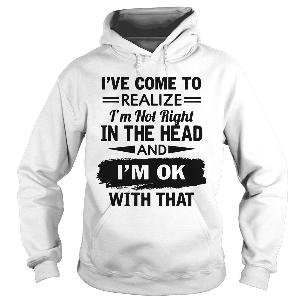 I've Come To Realize I'm Not Right In The Head And I'm Ok With That Hoodie