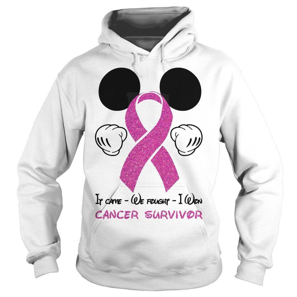 Mickey Mouse It Came We Fought I Won Cancer Survivor Hoodie