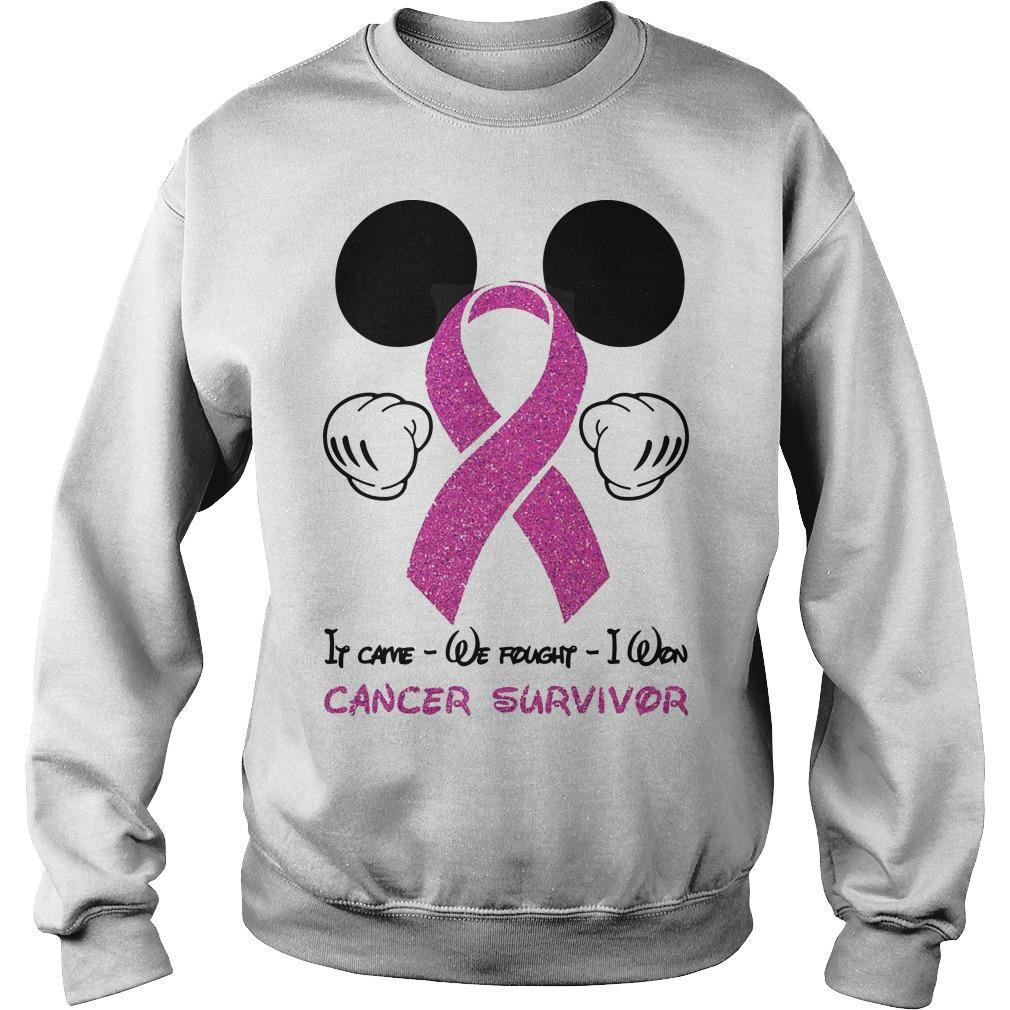 Mickey Mouse It Came We Fought I Won Cancer Survivor Sweater