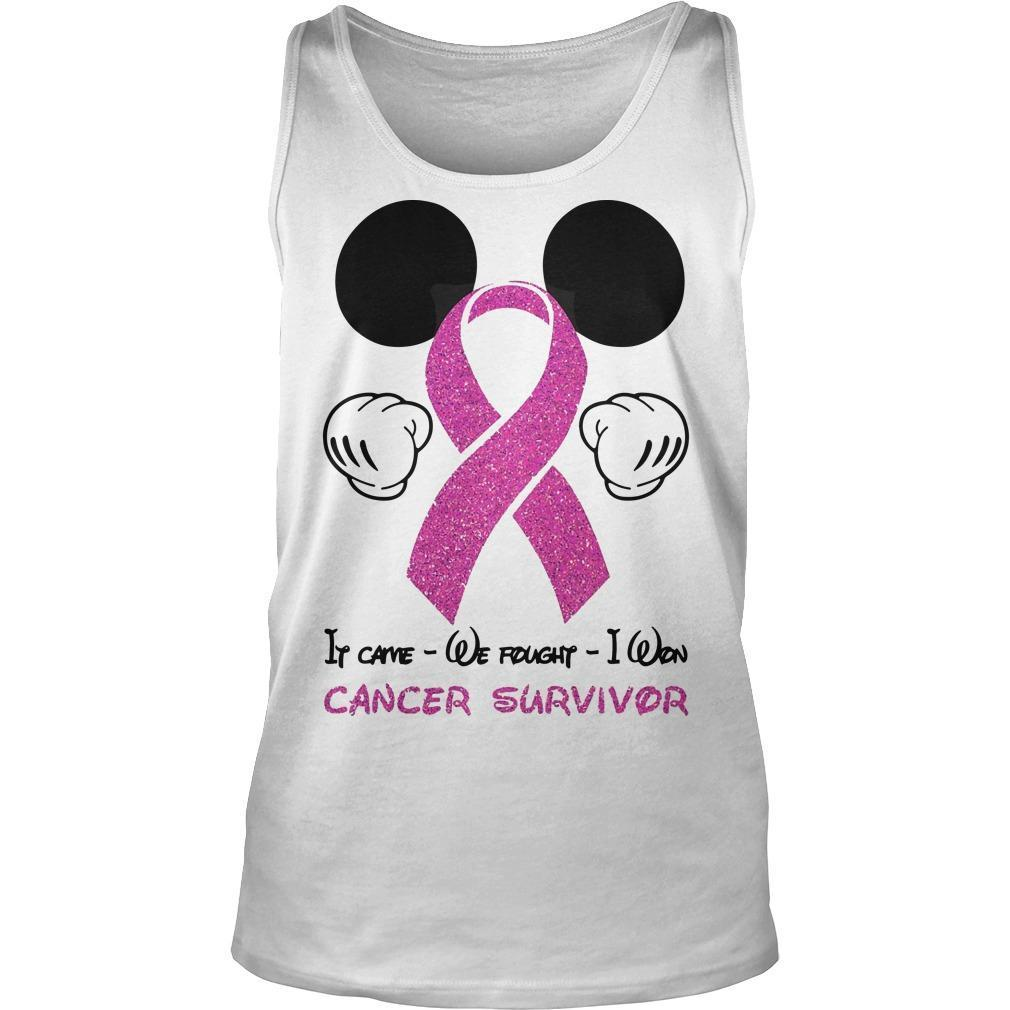 Mickey Mouse It Came We Fought I Won Cancer Survivor Tank Top