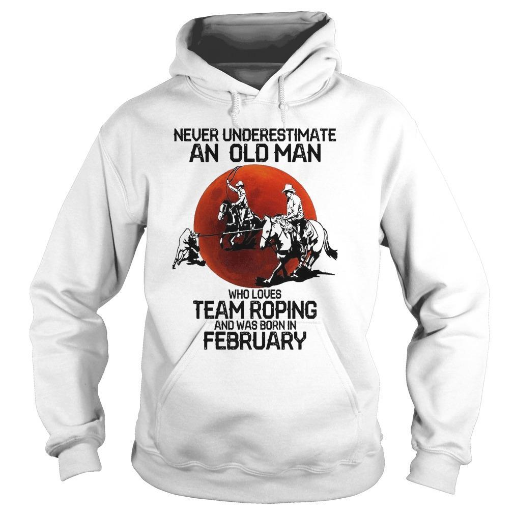 Moon Never Underestimate An Old Man Who Loves Team Roping Hoodie