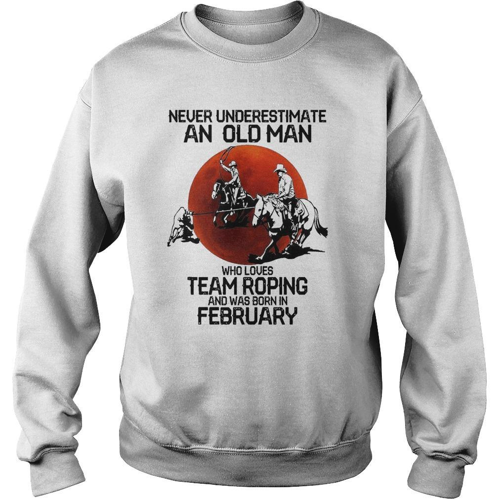 Moon Never Underestimate An Old Man Who Loves Team Roping Sweater