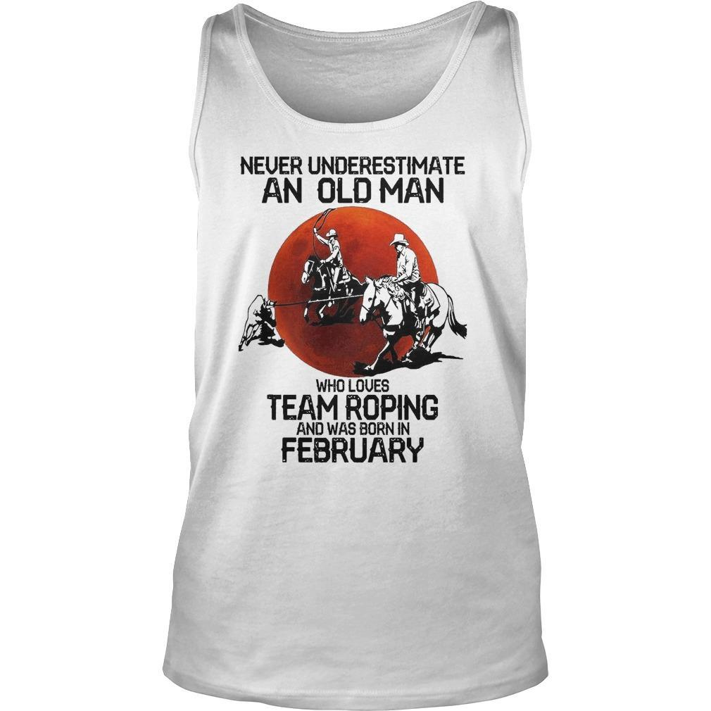 Moon Never Underestimate An Old Man Who Loves Team Roping Tank Top