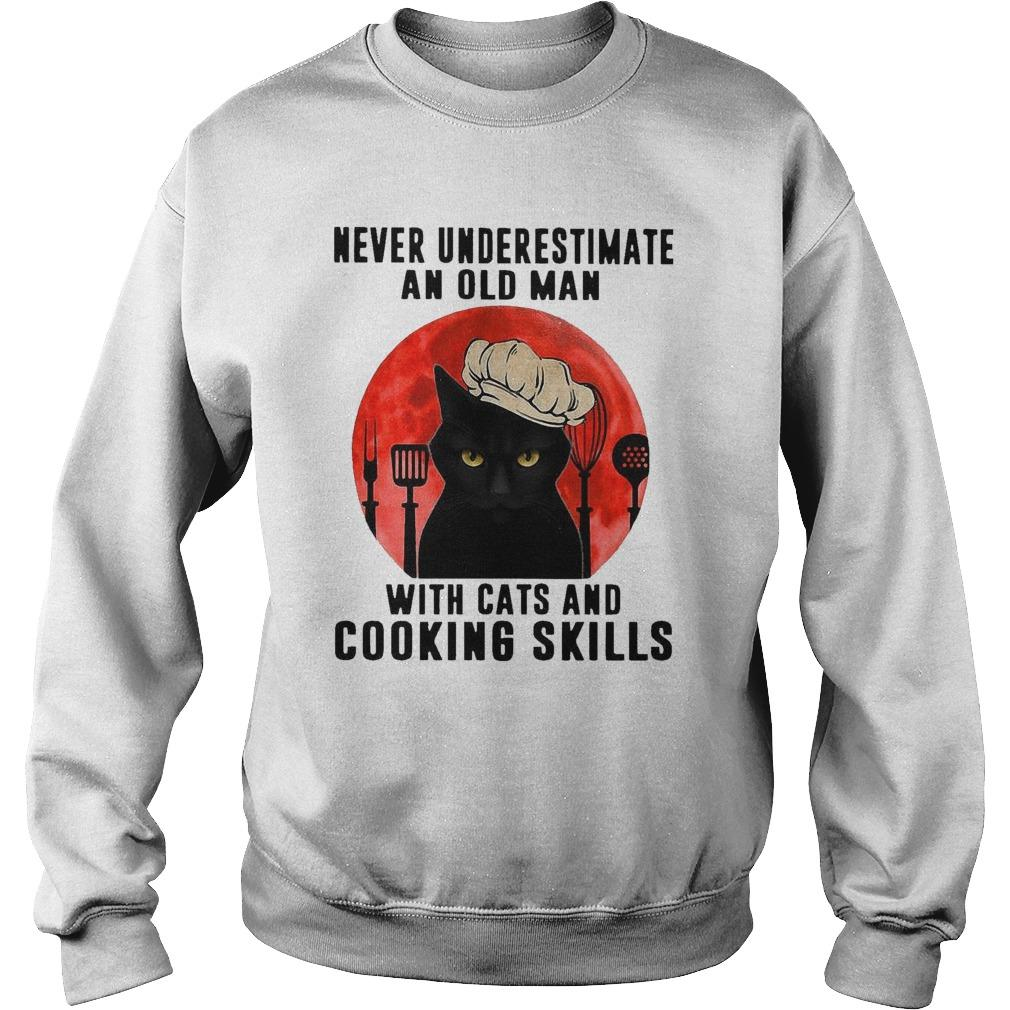 Never Underestimate An Old Man With Cats And Cooking Skills Sweater