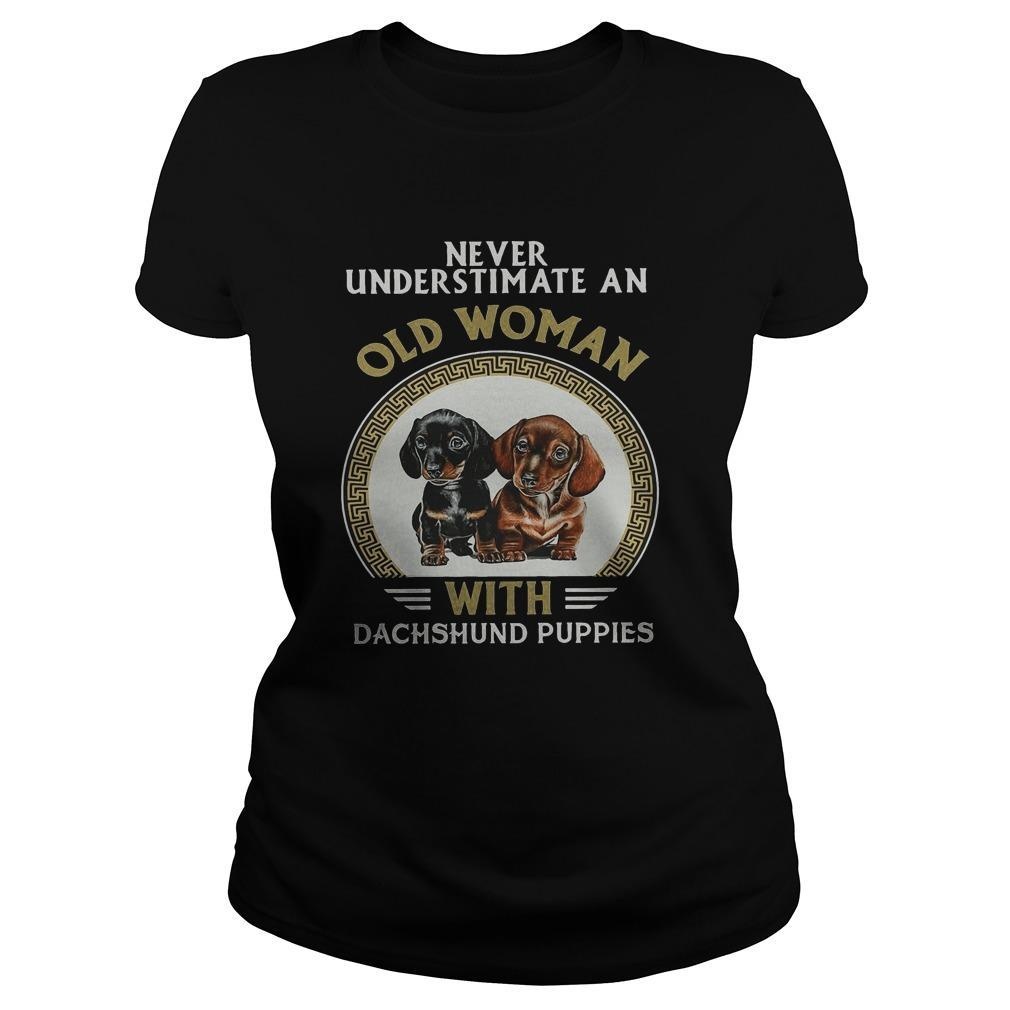 Never Underestimate An Old Woman With Dachshund Puppies Longsleeve