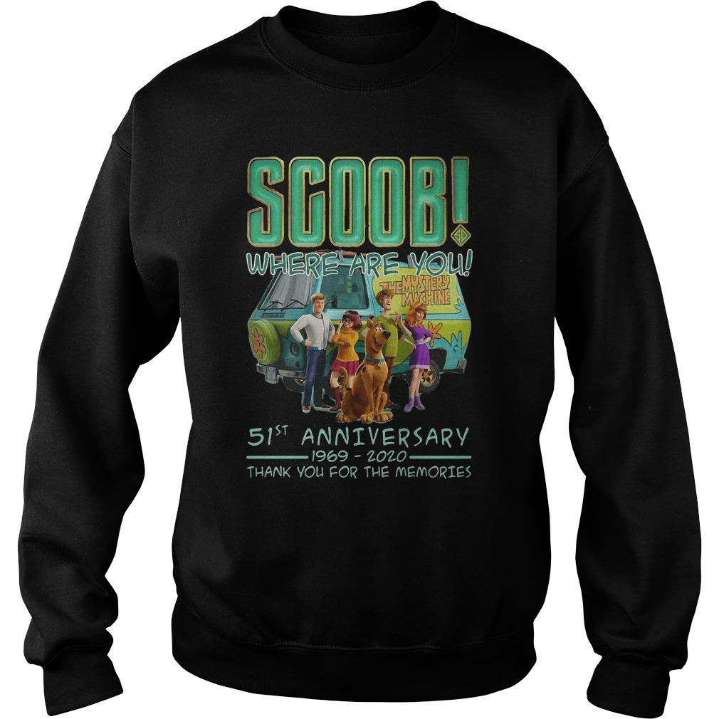 Scoob Where Are You 51st Anniversary 1969 2020 Thank You For The Memories Sweater