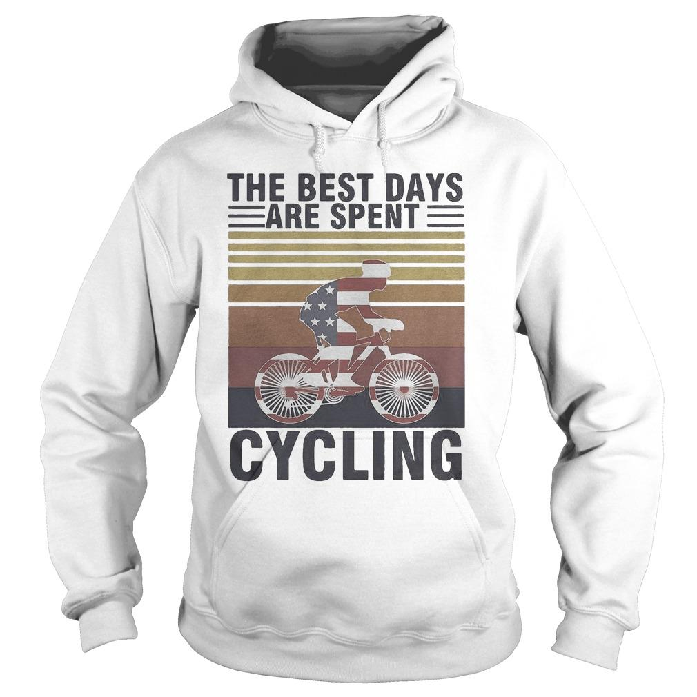 Vintage American Flag The Best Days Are Spent Cycling Hoodie