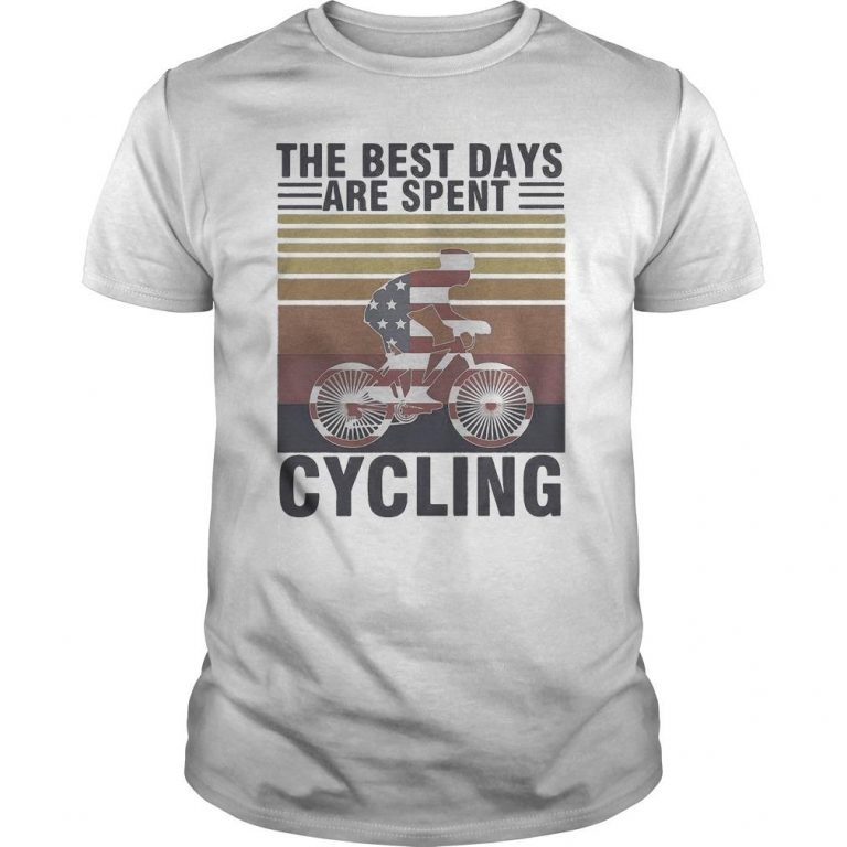 Vintage American Flag The Best Days Are Spent Cycling Shirt