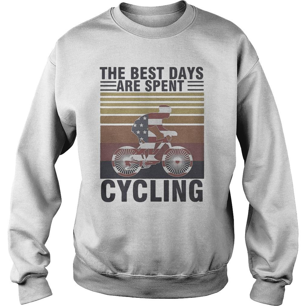 Vintage American Flag The Best Days Are Spent Cycling Sweater
